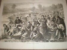 Sunday Morning with the Hop Pickers by M W Ridley 1871 large old print