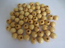 """Lot of 60 Natural Wood Round Macrame Wooden Craft Jewelry Beads 9/16"""" 16mm"""