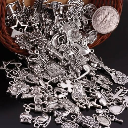 Wholesale Mixed Styles Tibetan Silver Charms Pendants Beads Jewelry Craft Finding