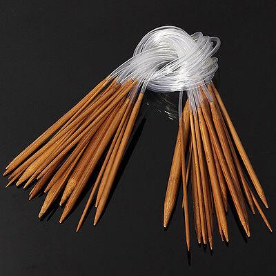 "18 Pairs 18 Sizes 24"" 60cm Circular Bamboo Carbonized Knitting Needles 2mm-10mm"
