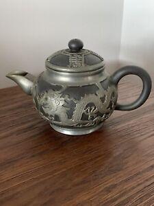 Vantage-Chinese-Wen-Hua-Shun-ceramic-amp-pewter-Teapot