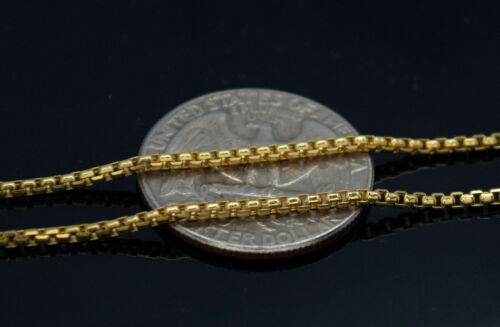 """14K Solid Yellow Gold Round Box Link 18/""""// 20/""""// 22/""""// 24/"""" inches Chain Necklace"""