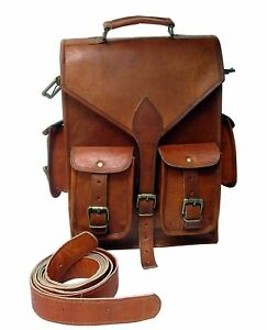 Men-Genuine-Leather-Vintage-Laptop-Backpack-Rucksack-Messenger-Bag-Satchel