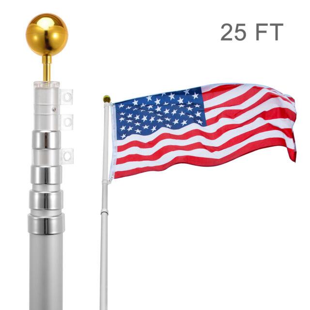 Heavy Duty Aluminum Flag Pole VALLEY FORGE 1in X 5ft  w// Anti-Wrap Sleeve /& Clip