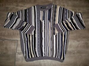 VTG-90s-Bachrach-McGregor-dicker-Pullover-Pulli-Shirt-3d-Strick-Multicolor-XL