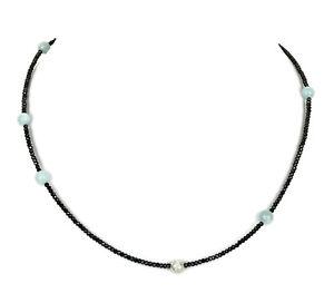 AQUAMARIN-SPINELL-Kette-Halskette-Edelstein-Collier-V803