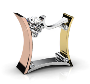 Fashion-Women-Men-925-Silver-Three-Tone-Gold-White-Topaz-Ring-Band-Wedding-Gift