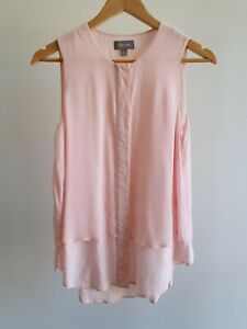 Sussan-Womens-Size-8-Pale-Pink-Layered-Button-Up-Tank-Top-EUC