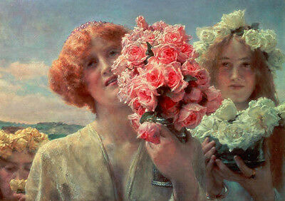 """Stunning oil painting young girls holding red and white roses flowers canvas 36"""""""