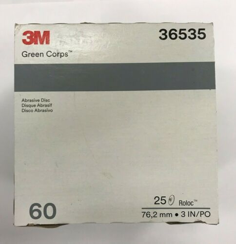 """3M Green Corps Roloc Grinding Discs 3/"""" 60 Grit 3M 36535 replacement for 3M 01407"""