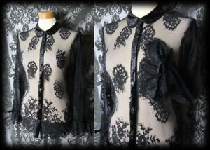 Gothic-Black-Sheer-Lace-WICKED-WAYS-Velvet-Trim-Blouse-10-12-Victorian-Vintage