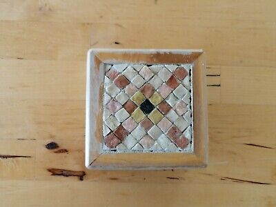 VINTAGE HANDMADE LARGE SQUARE MOSAIC WOODEN BOX Inlaid in Pearl 9.9 X 9.9 Inches