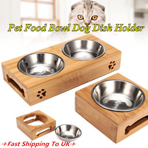 Pet-Food-Water-Feeder-Single-Twin-Bowls-Bamboo-Stainless-Steel-Dog-Cat-Dishes