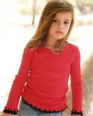 Girls Ruffle High Low Short Sleeve Jersey Top T-Shirt Lettuce Edge 6M-6X SO CUTE