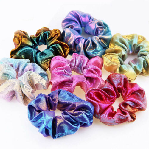Glitter Rainbow Hair Ties Women Scrunchies Ponytail Hair Rope Elastic Hair Bands
