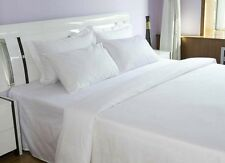 24 new white queen size flat 90x110 t180 percale cvc crisp hotel spa sheets