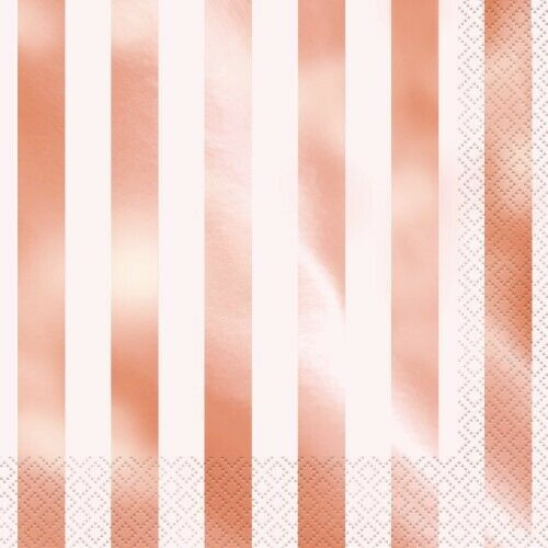 FOIL STAMPED STRIPES ROSE GOLD LUNCH NAPKINS PACK OF 16 TABLEWARE PARTY SUPPLIES