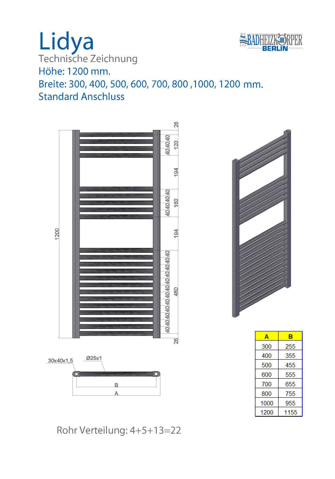 Badheizkörper Badheizkörper Badheizkörper LIDYA Chrom 1200 x 500 mm. Gerade Standardanschluss a51516