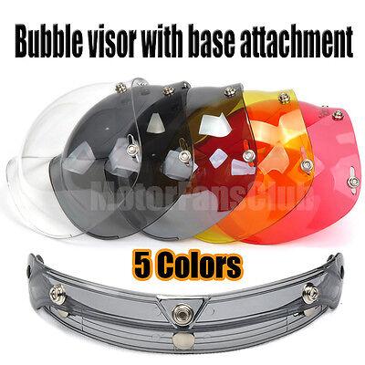 Universal Bubble Style 3-Snap Motorcycle Helmet Visor Flip Up Face Shield Lens