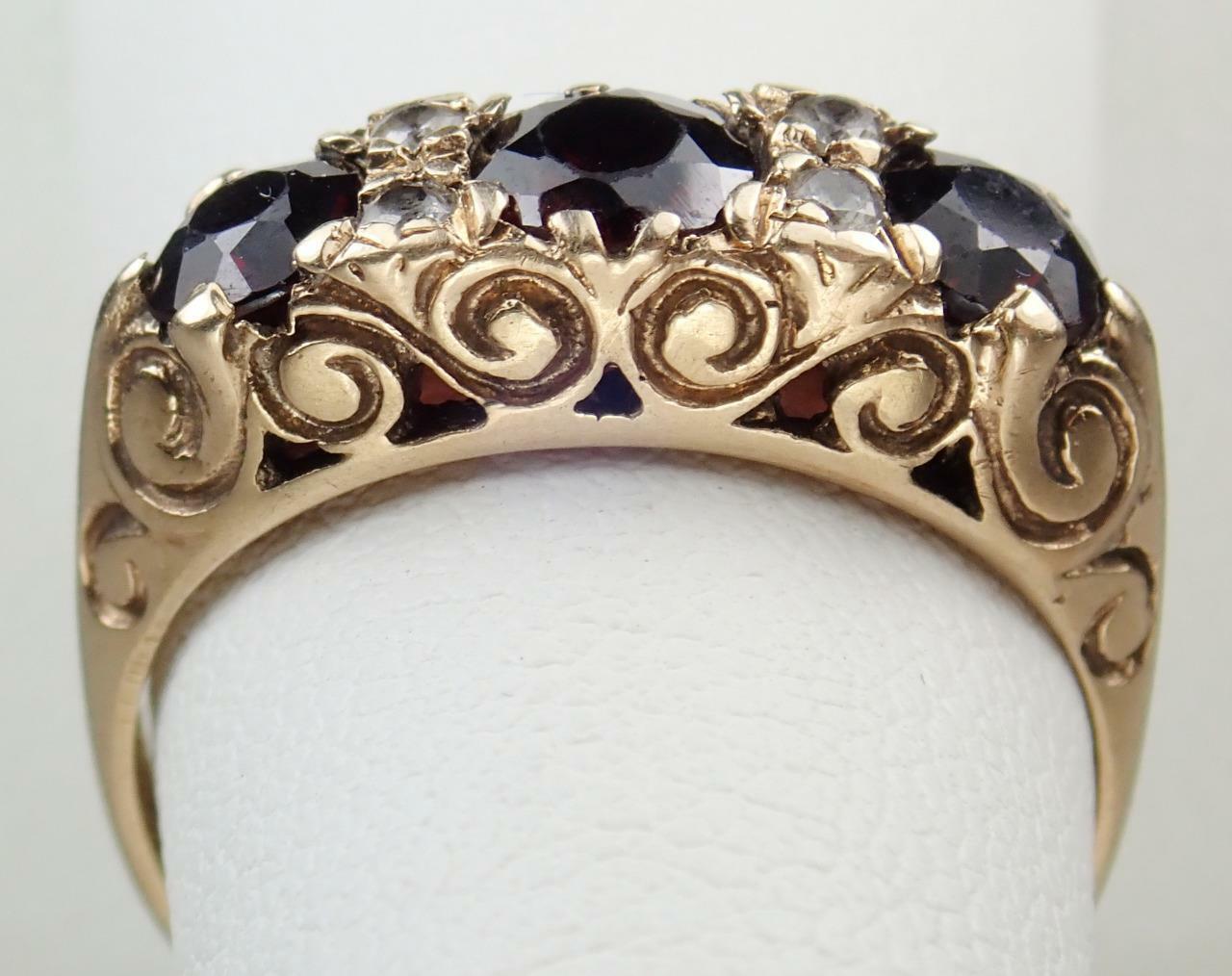 Fabulous Vintage Estate 9K Gold 1.4ct Garnet Crys… - image 10