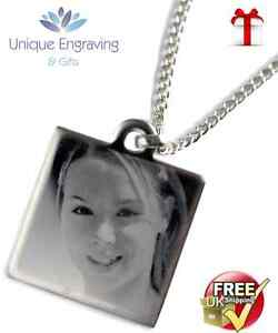 Personalised-Photo-Text-Engraved-Square-Necklace-Pendant-Fathers-Day-Gift