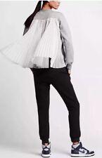 NikeLab x Sacai Tech Fleece Pleated Crew Grey Women's XXS (802245-063) NWT & Bag