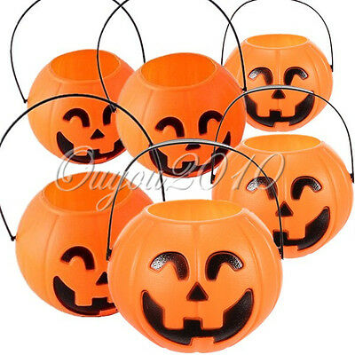 6x Halloween Bar Party Vintage Pumpkin Jack O Lantern Light Goodie Bucket