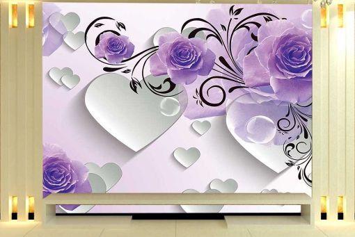 3D Herzen und bluemen 8 Fototapeten Wandbild Fototapete BildTapete Familie