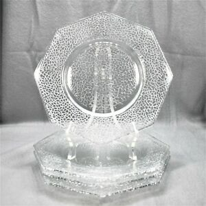 Set-of-4-Smith-Glass-By-Cracky-Clear-Octagonal-Salad-Plates