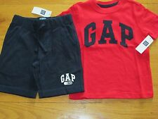 NWT Baby Gap Boy's S/S 3T Logo Red T-shirt & 2T Navy Shorts Outfit