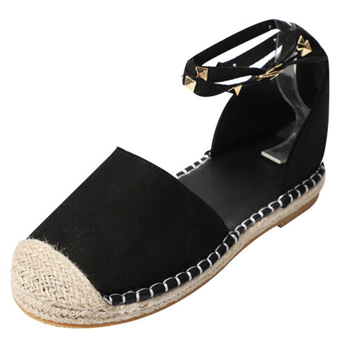 Women/'s Studded Closed Toe Espadrille Sandals Flats Double Ankle Strap Shoes New
