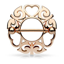 Pair of Hearts Tribal Nipple Shield Ring 14K Gold Plated Surgical Steel Barbell