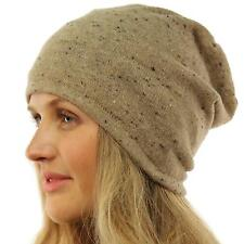 Unisex Speckled Knit Thin Lined Slouch Long Beanie Skully Ski Hat Cap Beige