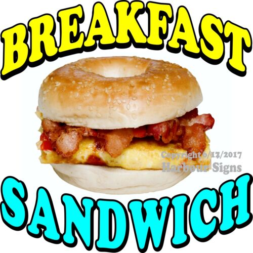 Breakfast Sandwich DECAL Choose Your Size Food Truck Concession Vinyl Sticker