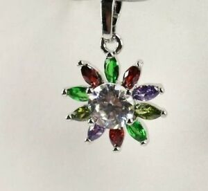 P-1594-Handcrafted-11-Multi-Colored-Gemstones-silver-Pendent-FREE-18-034-Chain