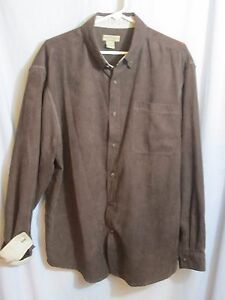 Image Is Loading Rugged Earth Mens Shirt Faux Suede Chocolate Brown
