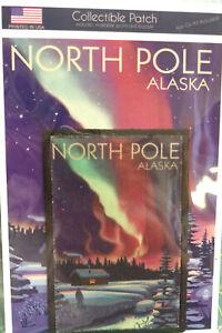 North-Pole-Alaska-Patch-and-Postcard-Set-Lantern-Press-Cabin-with-Aurora