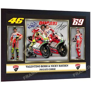 Valentino-Rossi-signed-Nicky-Hayden-autographed-photo-print-superbikes-Framed