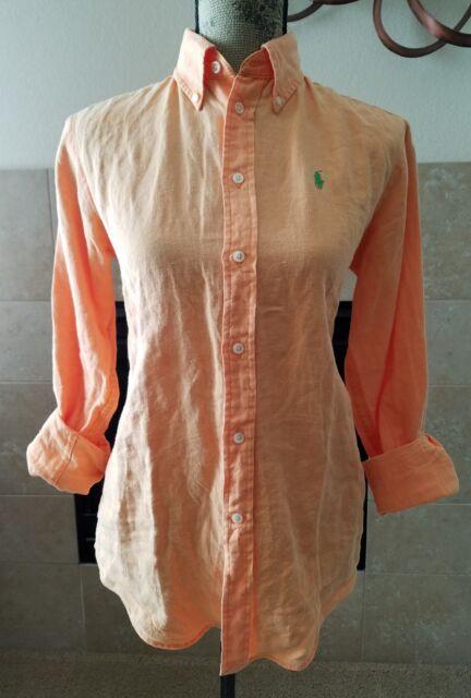 31ccda09 RALPH LAUREN WOMEN'S LINEN CLASSIC FIT BUTTON DOWN PONY LOGO SHIRT SIZE XL