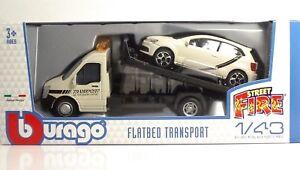 Bburago-31403-Car-Hauler-w-VW-Polo-GTI-Mark-5-034-Dull-Grey-034-METAL-1-43