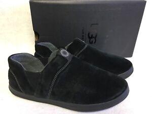 d848dcf64eb Details about UGG Australia HANZ Black Suede Fleece Lined TREADLITE 1018240  Slippers Shoes