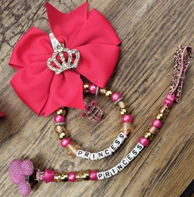 Set of 2 Personalised pram charm /&dummy clip holder 4 pram,carseat  pink