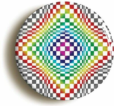 PSYCHEDELIC PATTERN RETRO BADGE BUTTON PIN (1inch/25mm diameter) SIXTIES LSD