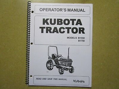 Kubota B1550 B1750 B 1550 1750 Tractor Owners Maintenance Manual EBay