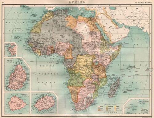 British French German Portuguese Italian Spain Belgian 1898 map COLONIAL AFRICA
