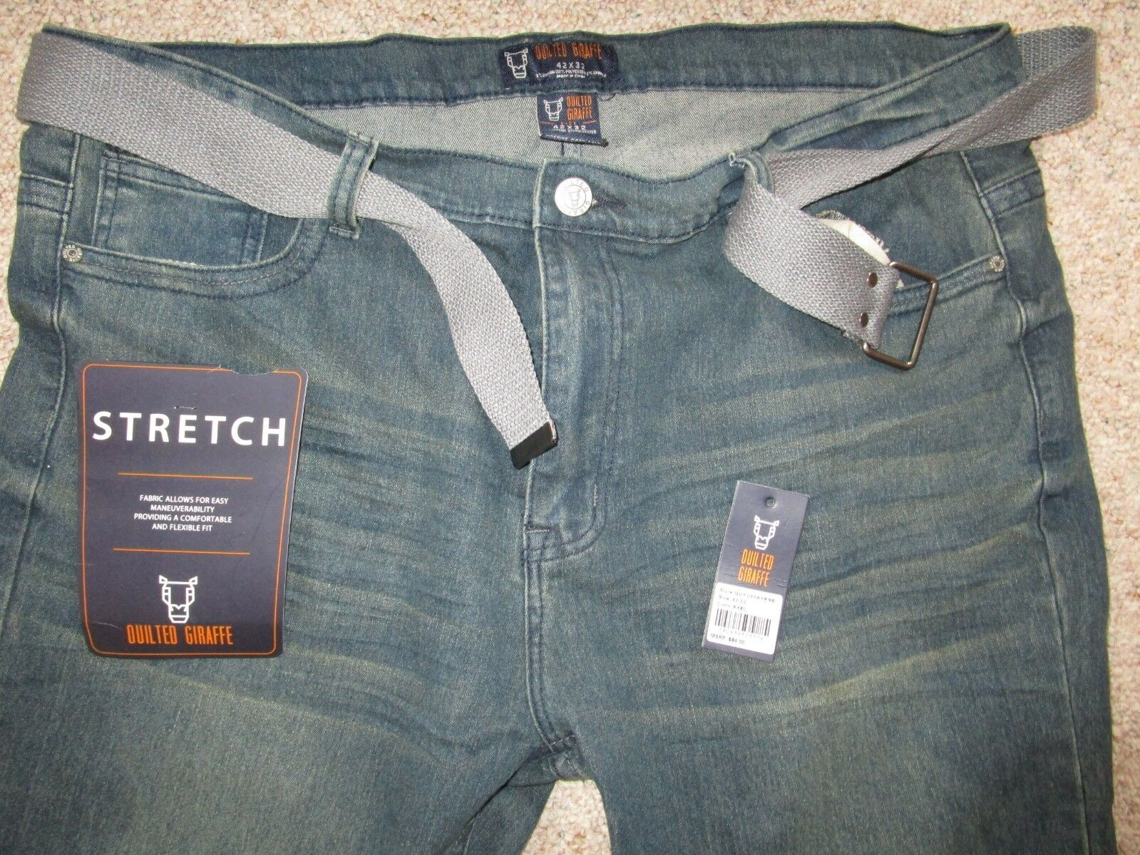 Quilted Giraffe Men's Stretch bluee Jeans Pants Size 42x32 NWOT
