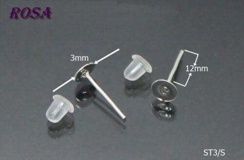 ST3-7//S Ohrstecker zum Kleben Ohrstopper Silber Farbe //3mm6mm8mm10mm