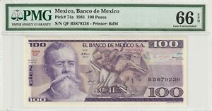 PMG-Certified-Mexico-1981-100-Pesos-Banknote-UNC-66-EPQ-Gem-Pick-74a-US-Seller