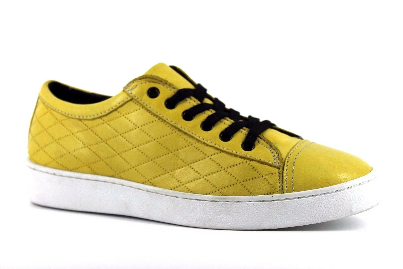 Creator Damenschuhe Yellow UK 6 EU 39 Yellow Damenschuhe WEISS Leder Lace Up Sneakers Trainers Schuhes 2d7137