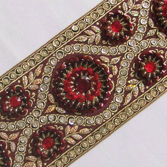 """Hand-Beaded Jacquard Ribbon Trim. Burgundy, Gold, Red, Silver Sequins 3¾"""" wide"""